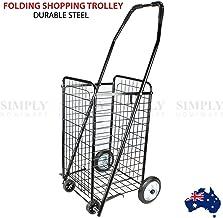 Shopping Cart Steel Carts Trolley Bag Foldable Luggage Wheels Folding Basket