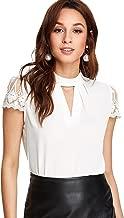 ROMWE Women's Elegant Lace Short Sleeve Sexy Keyhole Blouse Shirt