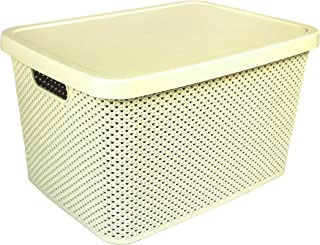 Hobby Life Diamond Design Storage Box With Lid 19 Litres (Ivory)