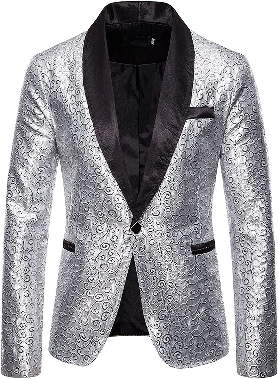 Men's Floral Party Dress Suit Stylish Dinner Jacket Wedding Blazer Prom Tuxedo Dress Slim Fit Tuxedo Suit Blazer