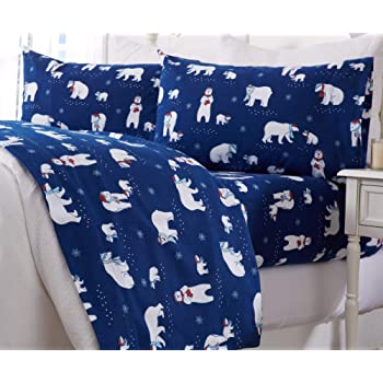 Arctic Penguins Cuddl Duds Queen Size Flannel Sheet Set Bedding Linen Kids Bedding
