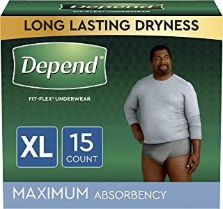 Depend FIT-FLEX Incontinence Underwear for Men, Maximum Absorbency, X-Large, Gray, 15 Count