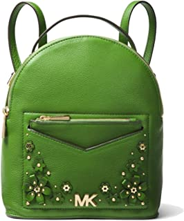Jessa Small Floral Embellished Pebbled Leather Convertible Backpack,True Green