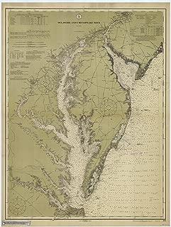 Map - Delaware & Chesapeake Bay, 1912 Nautical NOAA Chart - Delaware, Virginia (DE, VA) - Vintage Wall Art - 33in x 44in