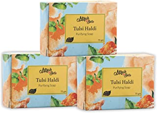 Mirah Belle - Organic Tulsi Haldi Purifying Soap Bar (Pack of 3-125 gm) - For Acne, Breakouts, Pimples and Blemishes, Help...