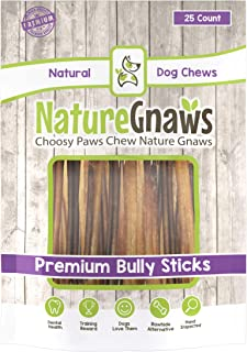 """Nature Gnaws Extra Thin Bully Sticks 5-6"""" - 100% Natural Beef Chew Treats for Small Dogs"""