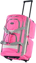 Olympia 8 Pocket Rolling Duffel Bag, Hot Pink, 26 inch