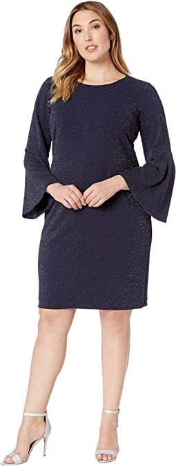 Plus Size Mikey 155E Metallic Knit Ponte Day Dress