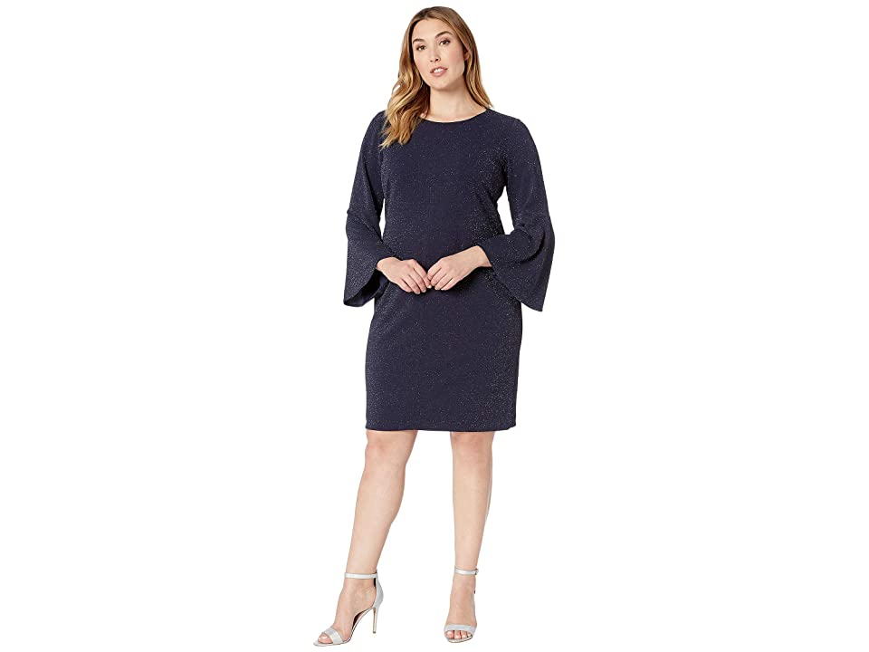 LAUREN Ralph Lauren Plus Size Mikey 155E Metallic Knit Ponte Day Dress (Lighthouse Navy) Women