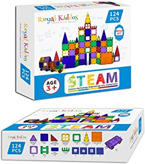 Royal Kiddos - 124 PCS with 2 Cars - Magnetic Building Blocks Toys for Kids - Magnetic Tiles Building Set for Toddlers - M...
