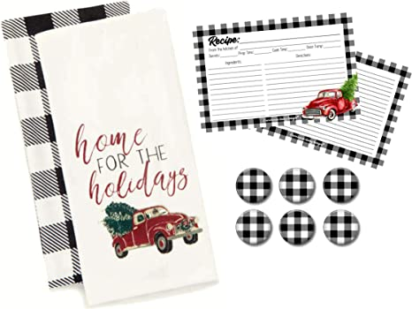 Amazon Com Modern Farmhouse Decor Buffalo Check Kitchen Towel Set Old Red Truck Recipe Cards With Black And White Plaid Christmas Fridge Magnets Gift Home