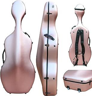 4/4 Cello case Mixed Carbon Fiber Full size Hard case Hard Shell Strong Light 4.5kg Support 300kg pressure (rose-gold)