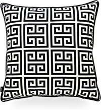 Hofdeco Indoor Outdoor Pillow Cover ONLY, Water Resistant for Patio Lounge Sofa, Black White Greek Key, 18