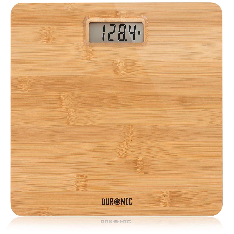 Duronic BS503 Báscula de baño Digital - Capacidad máxima de 180kg - Mide el Peso Corporal en Kilos, Libras y Stone - Diseño de Madera de bambú - Se Enciende al subirse - Sensores de precisión