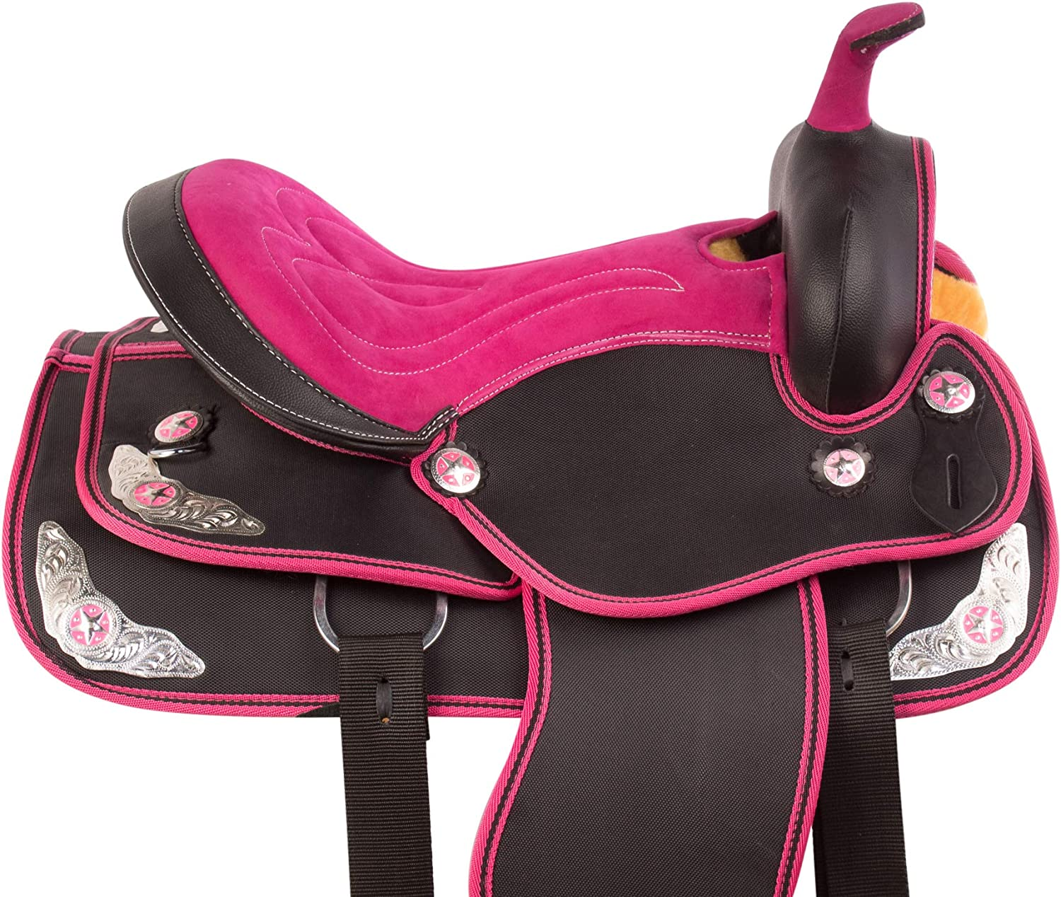 Acerugs Beautiful Western Pleasure Trail Barrel Racer Show Horse Saddle Free TACK Set PAD Silver Crystals