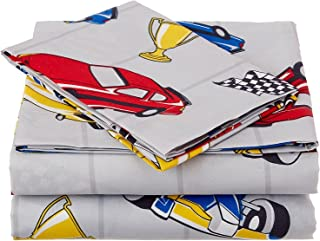 Linen Plus Twin Size 3pc Sheet Set for Boys Race Cars Flags Champion Grey Yellow Red Blue Black White New
