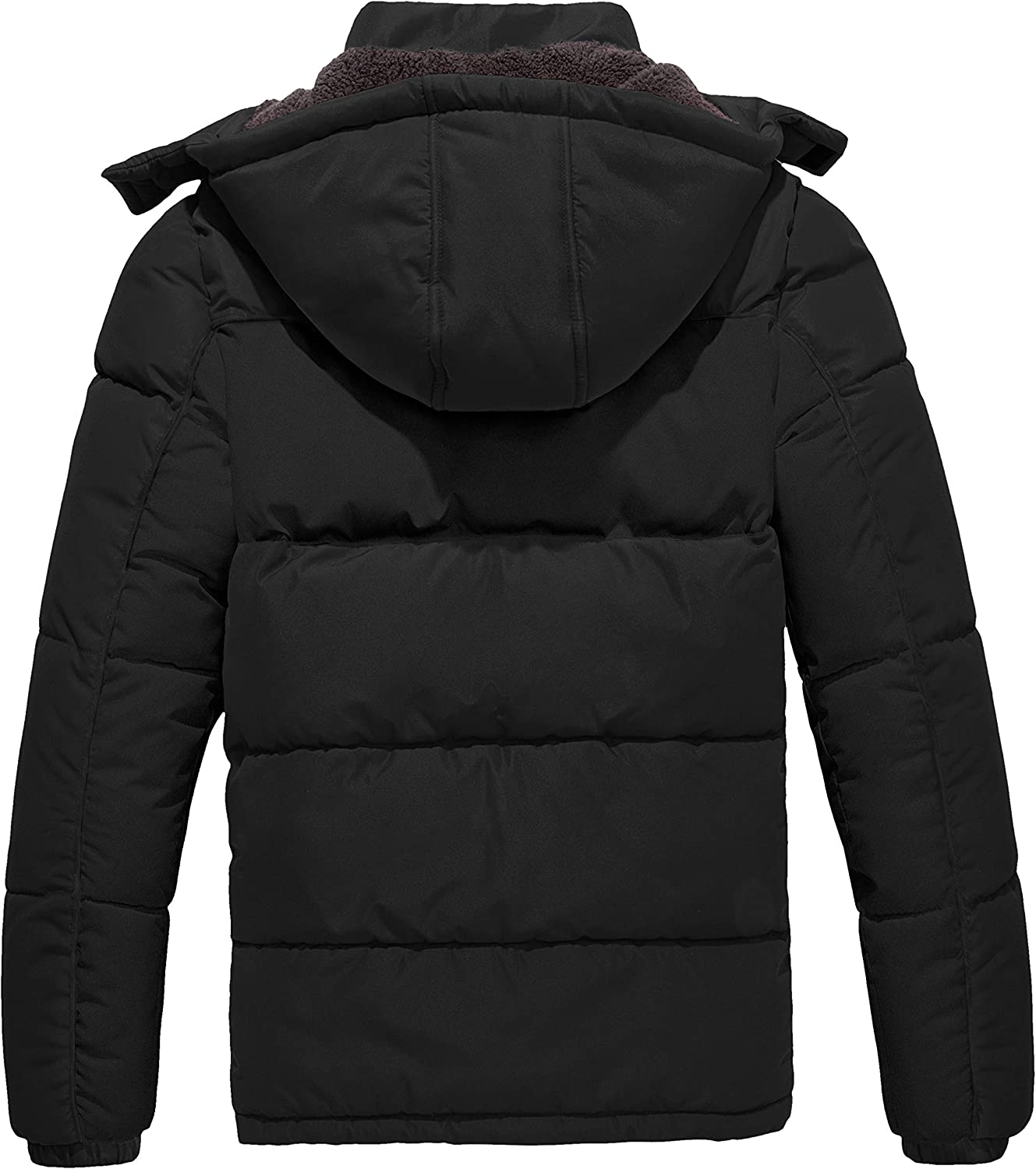 Wantdo Mens Puffer Jacket Thicken Padded Winter Coat with Removable Hood
