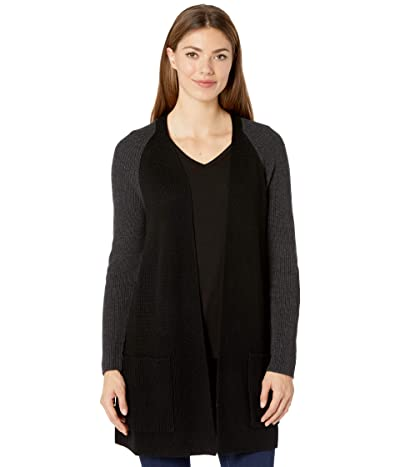 Eileen Fisher Merino Raglan Cardigan (Black/Charcoal) Women