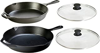 Lodge Seasoned Cast Iron 4 Piece Bundle. Two Sets of Cast Iron Skillets with Tempered Glass Lids. (10.25 Inch Set + 12 Inc...