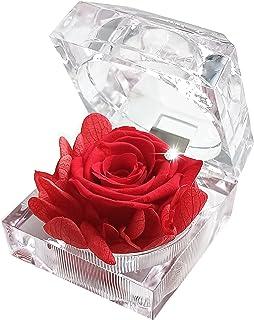 プリザーブドフラワー ローズ フラワーアレンジ 記念日/お祝い/母の日 プレゼント/お花/女性(ジュエリーケース入り/ギフト透明アクリル ボックス、バラ、草)あじさい 赤 レッド