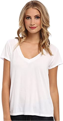 Short-Sleeve Low V-Neck Boyfriend Tee