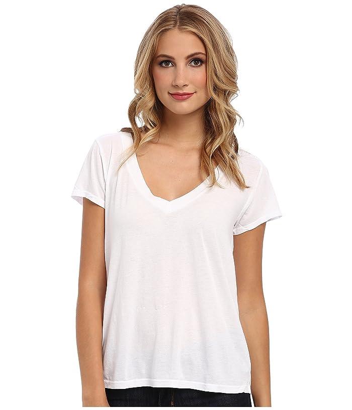 LAmade Short-Sleeve Low V-Neck Boyfriend Tee (White) Women's Short Sleeve Pullover