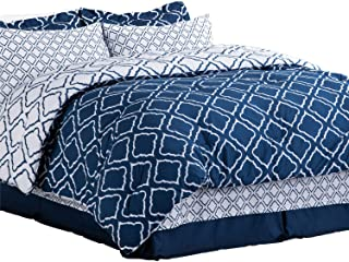 Bedsure Bed in A Bag Queen Size Comforter Sets Bedding 8 Piece Navy Blue - 1 Comforter (88X88 inches) , 2 Pillow Shams, Fl...