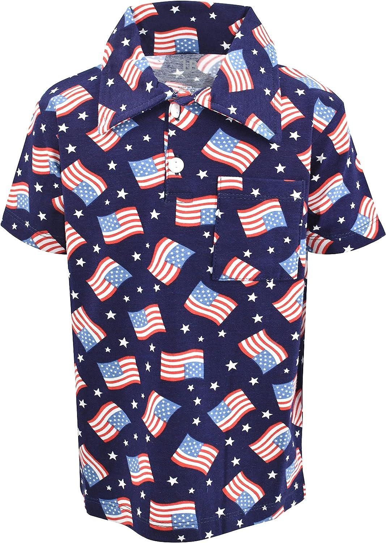 Unique Baby Boys Patriotic Flag Print 4th of July Polo Shirt