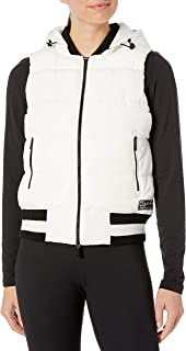Calvin Klein Performance Women's Quilt Vest with Sweater Rib Trim and Detachable Hood