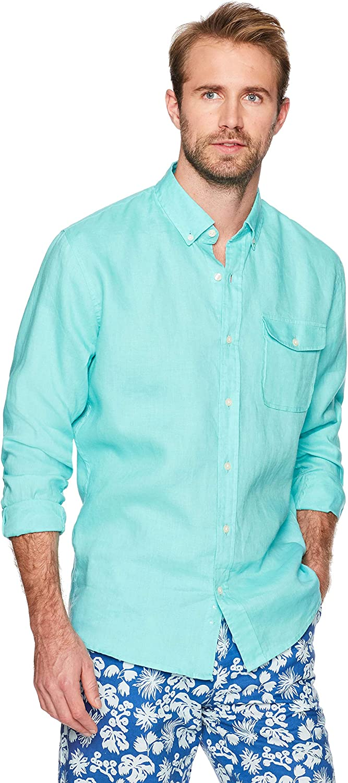 Isle Bay Linens Men's 100% Sleeve Collar Long Button-Down Ranking TOP8 Max 40% OFF Linen