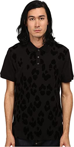 Short Sleeve Pique Polo w/ Flocked Leopard