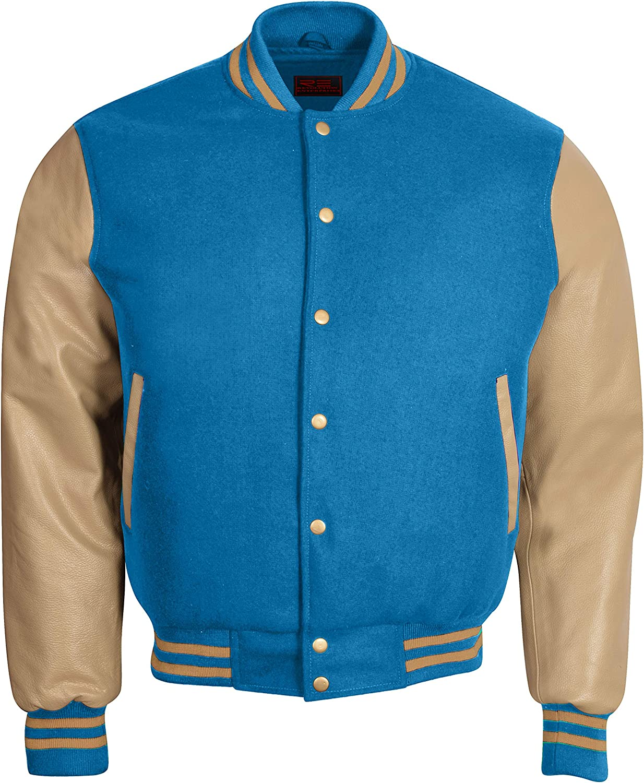 Varsity Letterman Baseball Bomber Retro Vintage Jacket Sky Blue Wool Creem Genuine Leather Sleeves