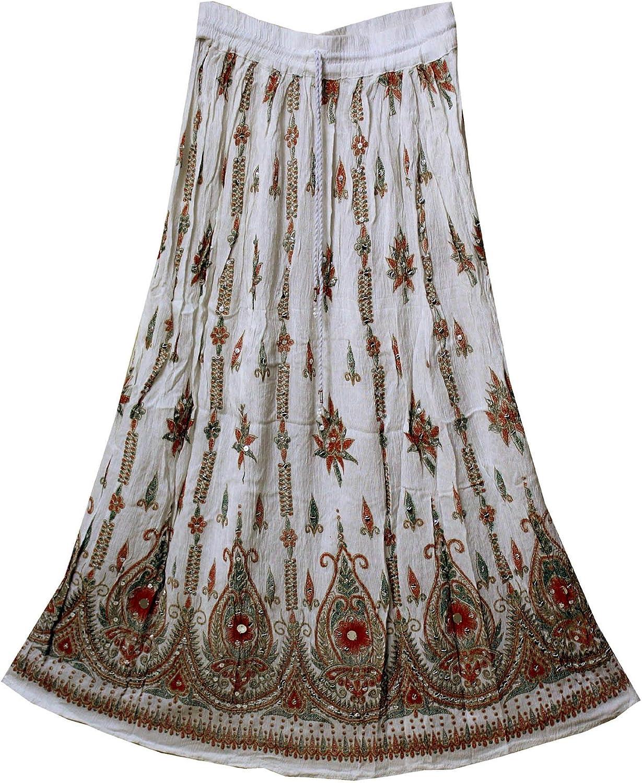 Free Size Rayon Skirt Indian Hippie Rock Gypsy Jupe Retro Boho Falda Women White