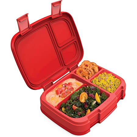 Bentgo Fresh (Red) – New & Improved Leak-Proof, Versatile 4-Compartment Bento-Style Lunch Box – Ideal for Portion-Control and Balanced Eating On-The-Go – BPA-Free and Food-Safe Materials
