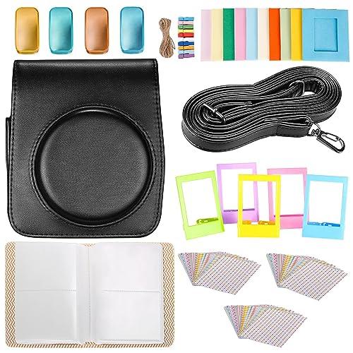 Neewer 25-en-1 Kit pour Fujifilm Instax Mini 70 (Noir): 1 Etui Noir/1 Album Bleu/4 Filtres Colorés/5 Cadres de Table/10 Cadres à Suspendre/3 Paquets (30 pcs) Autocollants/1 Bandoulière