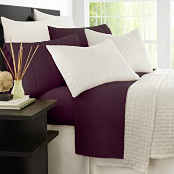 Zen Bamboo Luxury 1500 Series Bed Sheets - Eco-friendly, Hypoallergenic and Wrinkle Resistant Rayon Derived From Bamboo - 4-Piece - California King - Purple