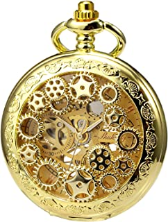 Mens Womens Mechanical Skeleton Pocket Watch Golden Gear Hollow Case Steampunk Blue Hands Fob Watches with Chain Box