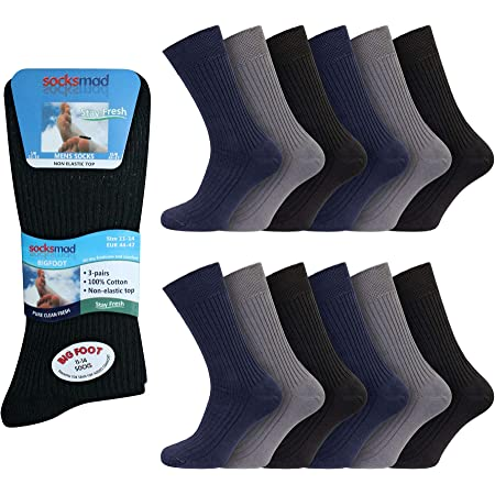 Todo Negro X-Large 46-50 EUR 6 Pares Sockshop Hombre Bigfoot Gentle Grip Holgado Superior Calcetines Talla 12-14 GB 12-14 Uk
