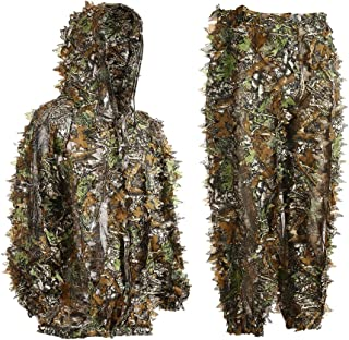 Eamber Ghillie Suit 3D Leaf Realtree Camo Youth Adult Lightweight Clothing Suits for Jungle Hunting,Shooting, Airsoft, Wildlife Photography or Halloween