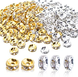 Rondelle Beads,200 Pieces Crystal Spacer Beads Loose Round Beads 8mm Gold And Silver for Jewelry Making