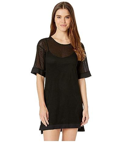 BCBGeneration Short Sleeve Mesh Overlay Dress TVE6194386 (Black) Women