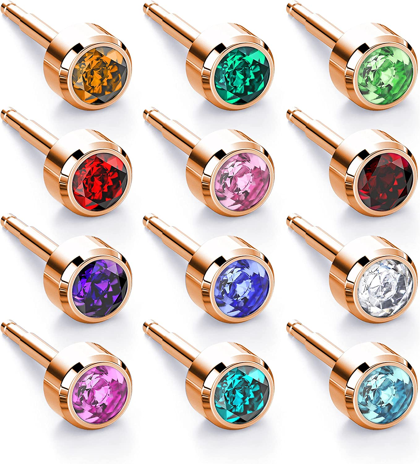 Nina Medikal Stud Earrings - Jewellery Set with Gold Plated Stainless Steel and Crystals - Ear Piercing Kit compatible and Hypoallergenic - 12 Pairs