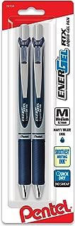 Pentel EnerGel RTX Retractable Liquid Gel Pen, (0.7mm) Metal Tip, Medium Line, Navy Blue Ink 2-Pk (BL77BP2CA)