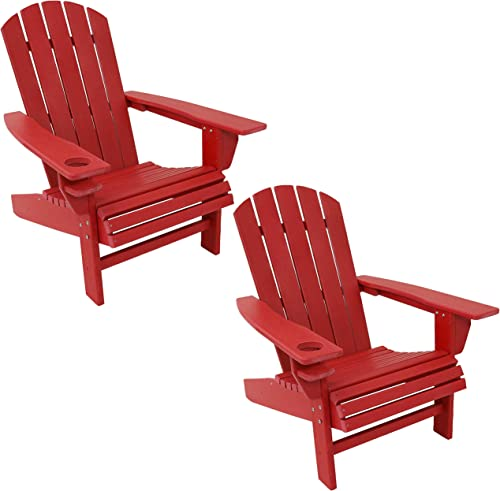 high quality Sunnydaze All-Weather outlet sale Outdoor Adirondack Chair with Drink Holder - Heavy Duty HDPE Weatherproof Patio Chair - Ideal for Lawn, Garden or Around The Firepit outlet sale - Red- Set of 2 sale