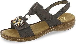 Rieker 628D7-45 Ladies Womens Touch Fasten Embellished Summer Sandals Smoke