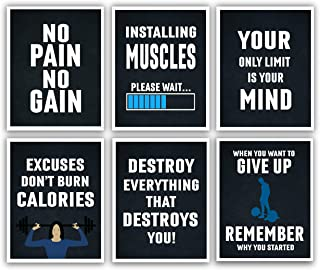 Motivational Posters - 11x14 Inches Set of 6 Inspirational Wall Art, Hustling, Entrepreneur Decoration - Positive Print Hustle [Unframed] - Shipped Flat Poster Paper