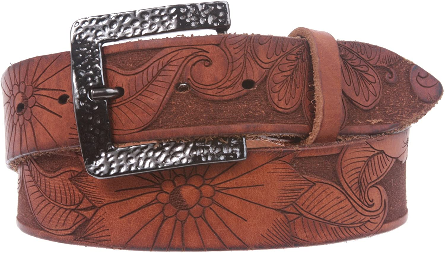 1 1 2  Snap On Soft Hand Floral Engraving Full Grain Leather Belt, Tan   36
