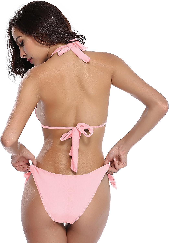 SHEKINI Women's Side Tie Bottom Bathing Suit Push up Triangle Bikini Set