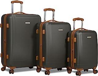 Dejuno Legion New Generation 3-pc Hardside Spinner TSA Combination Lock Luggage Set, Charcoal, 3-Piece