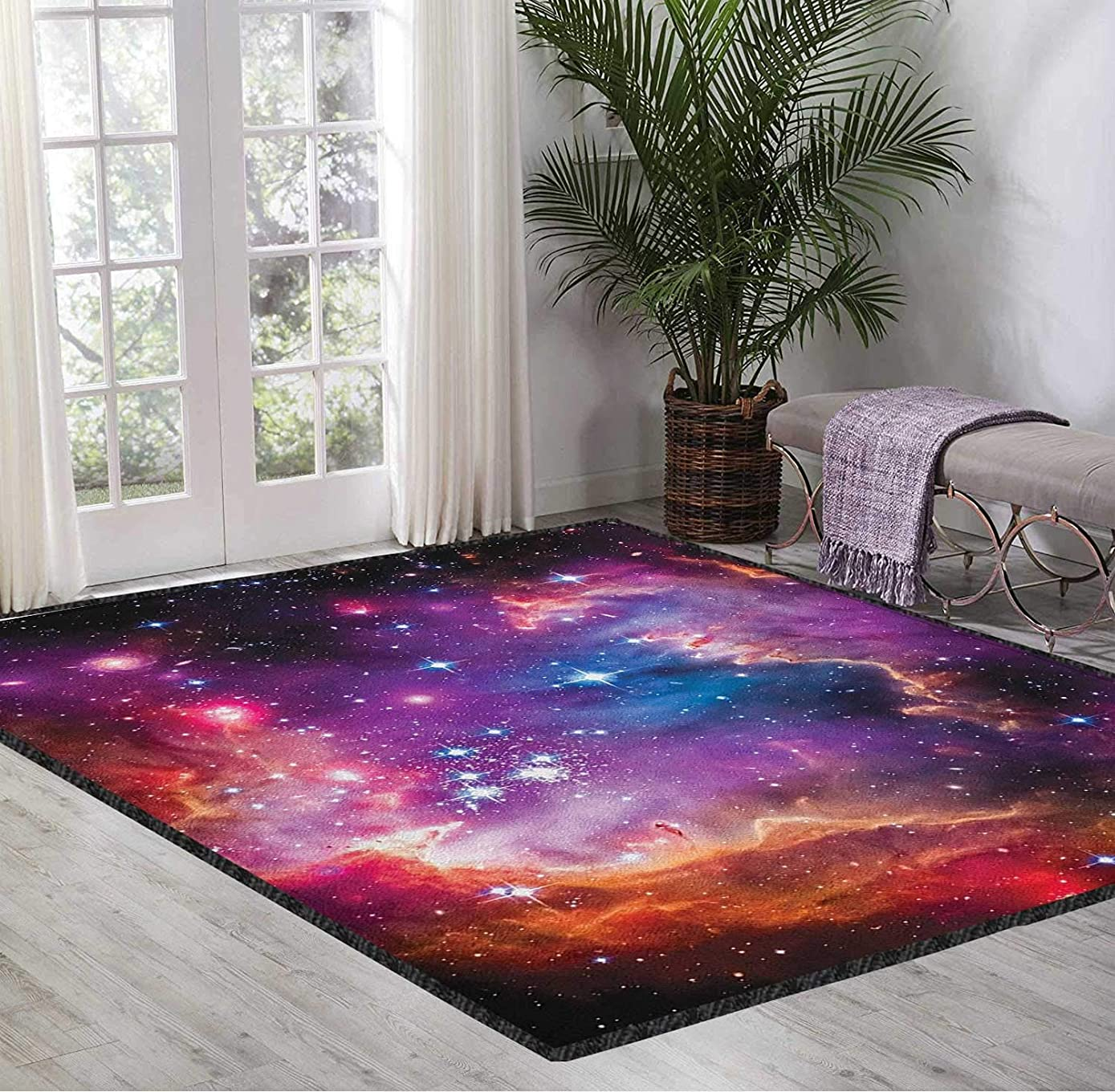 Throw Carpet Rugs Galaxy Baby Mats for Playing Magellanic Cloud Stars and Colorful Fantastic Cosmic Universe View Pattern Purple Blue Orange 5X8 Ft
